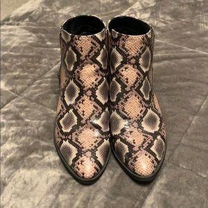 Snake print booties